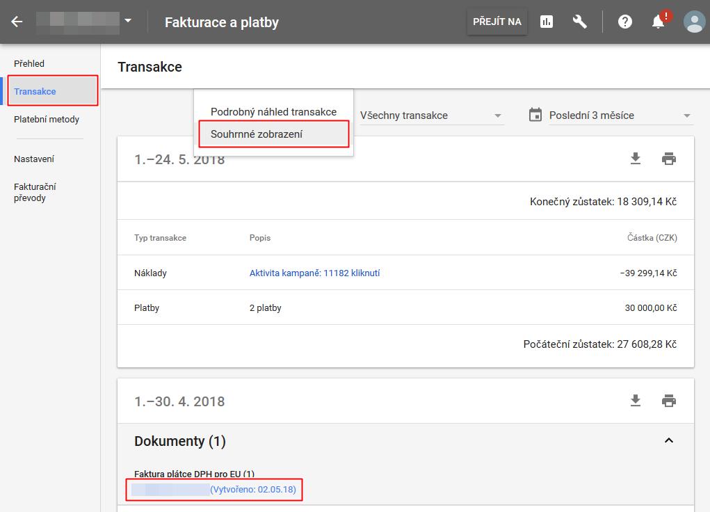 AdWords - stažení faktur - Transakce