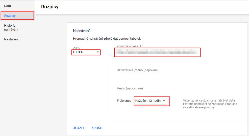 DSA - Rozpisy - nastavení aktualizace XML feedu v Google Ads