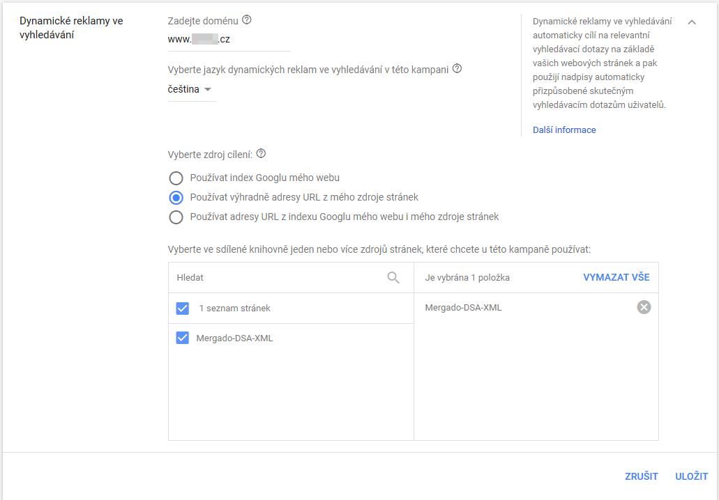 DSA + XML - Nastavení kampaně v Google Ads - Cílení.