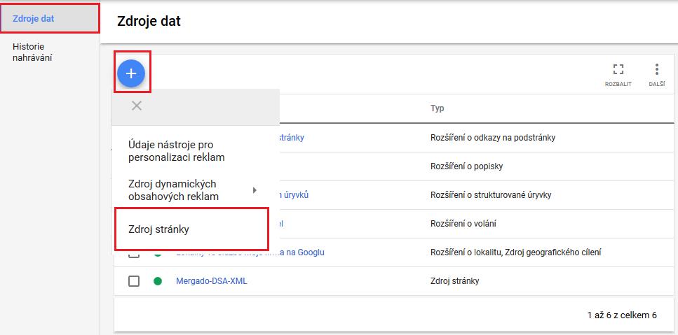 Google Ads - Zdroj dat - Nastavení