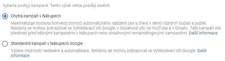 Google Ads - Vytvoření Chytré kampaně v Nákupech - výběr podtypu kampaně