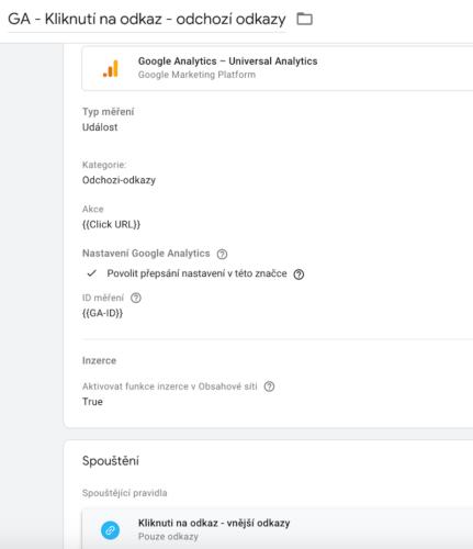 Google Tag Manager - Značka - Nastavení události