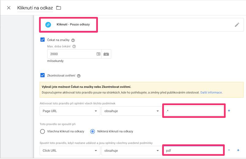 Google Tag Manager - Měření vybraných vnitřních odkazů