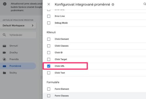 Google Tag Manager - Proměnné - Kliknutí