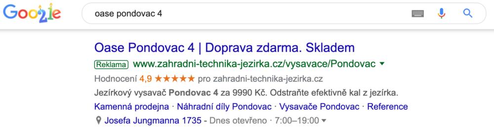 Příklad produktového inzerátu ve vyhledávání Google
