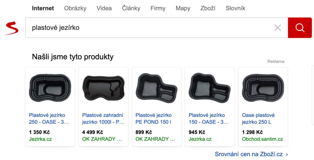 Seznam - produktové inzeráty