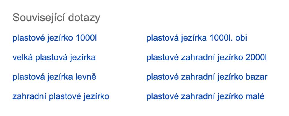 SERP v Seznam.cz - Související dotazy