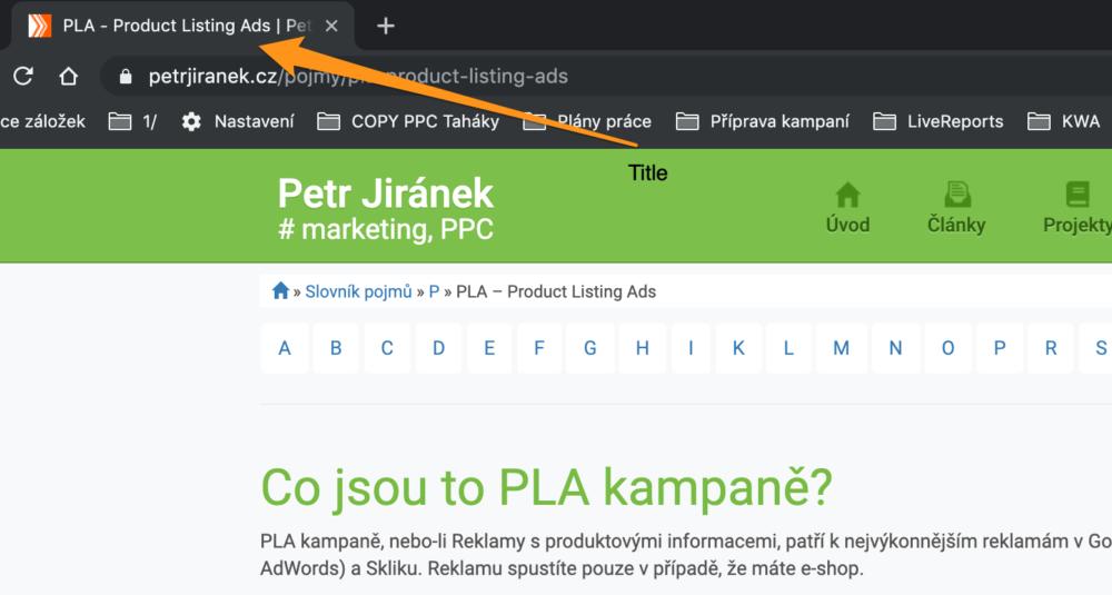 Title v internetovém prohlížeči