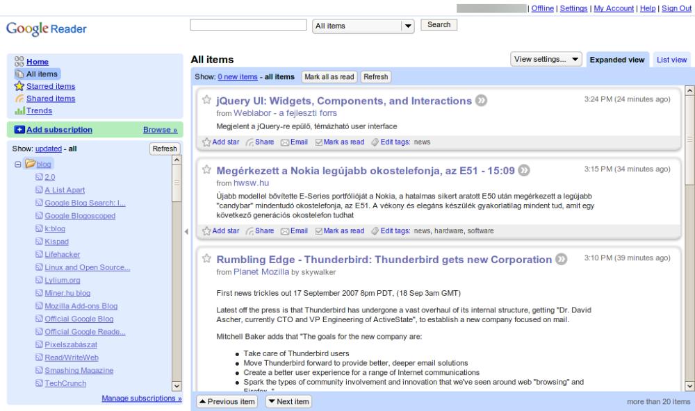 Ukázka prostředí Google Reader