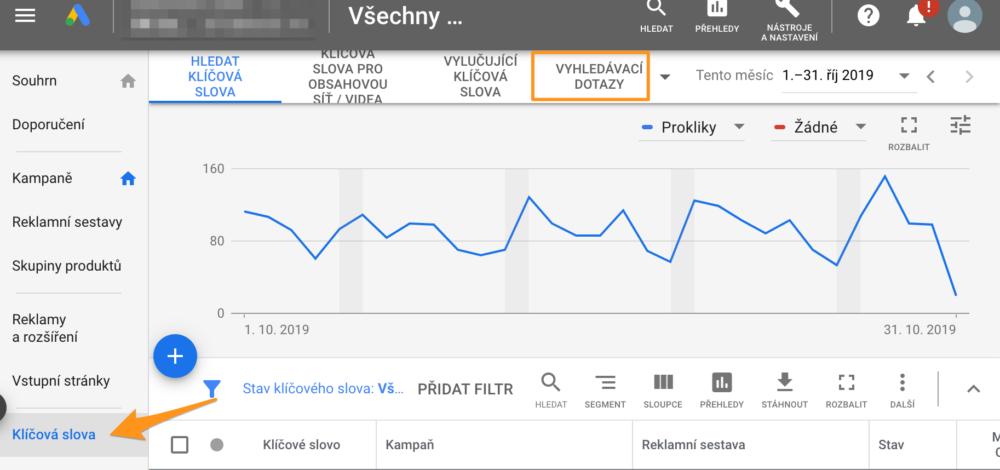 Vyhledávací dotazy v Google Ads