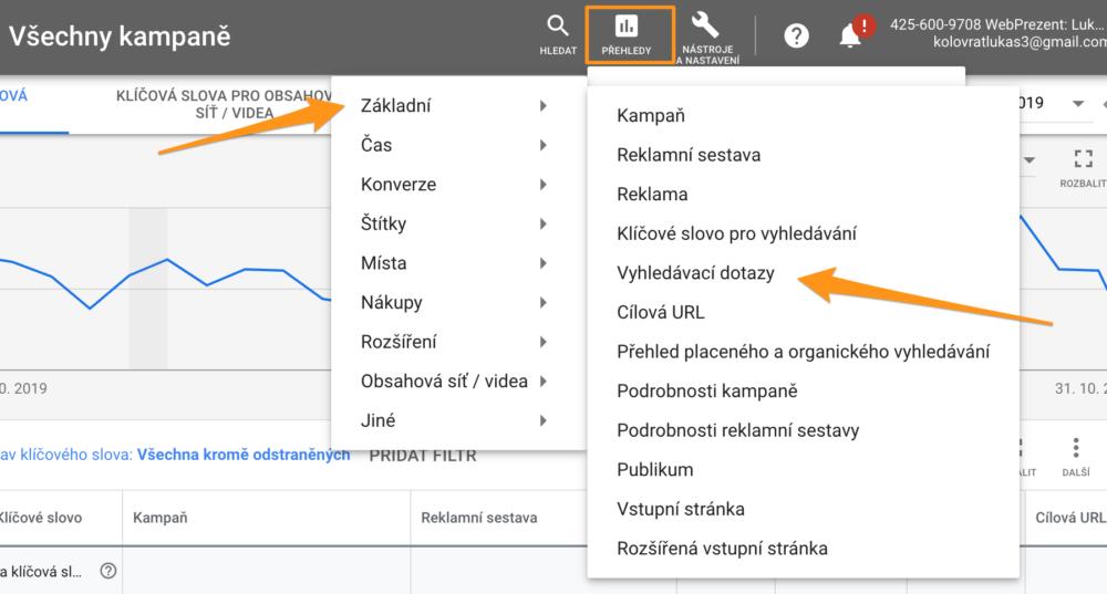 Vyhledávací dotazy v Google Ads - Přehledy