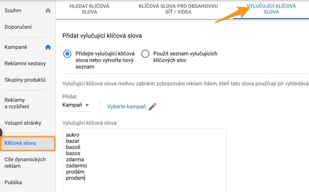 Vylučující klíčová slova v Google Ads