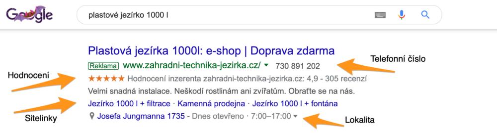 Rozšíření reklam ve vyhledávání Google