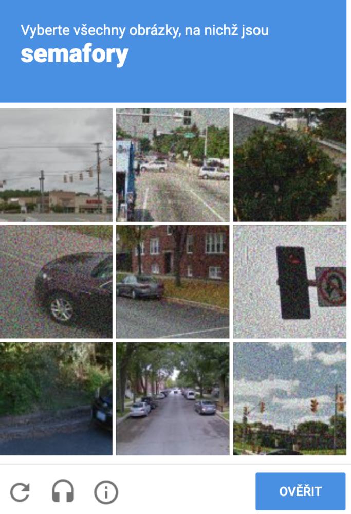 CAPTCHA Google - naklikání všech obrázků, na kterých je zadaný objekt
