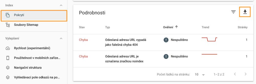 Google Search Console - Přehled chyb ke stažení