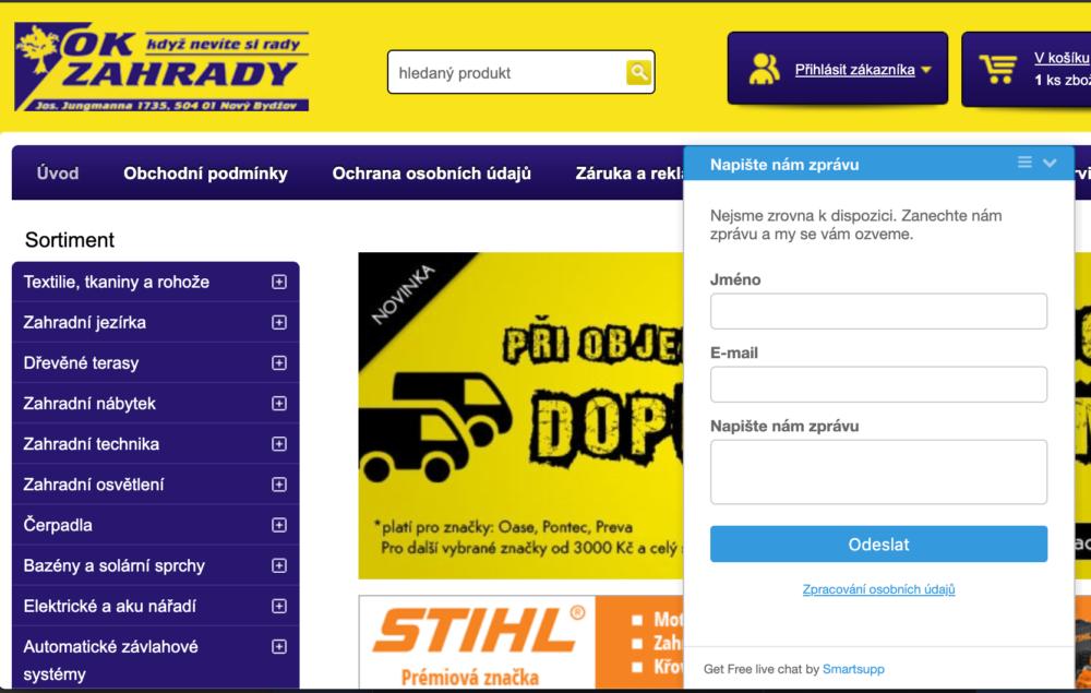 Příklad e-shopu s nasazeným Smartsupp