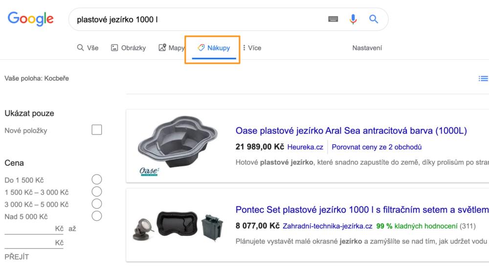 Prostředí Google Nákupy