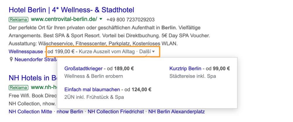 Google Ads - Rozšíření o cenu