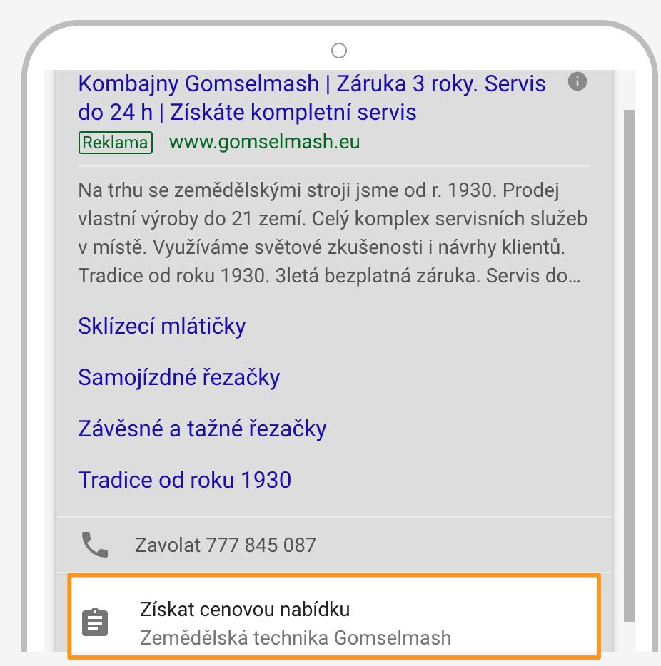 Google Ads - Rozšíření o formulář zájemce