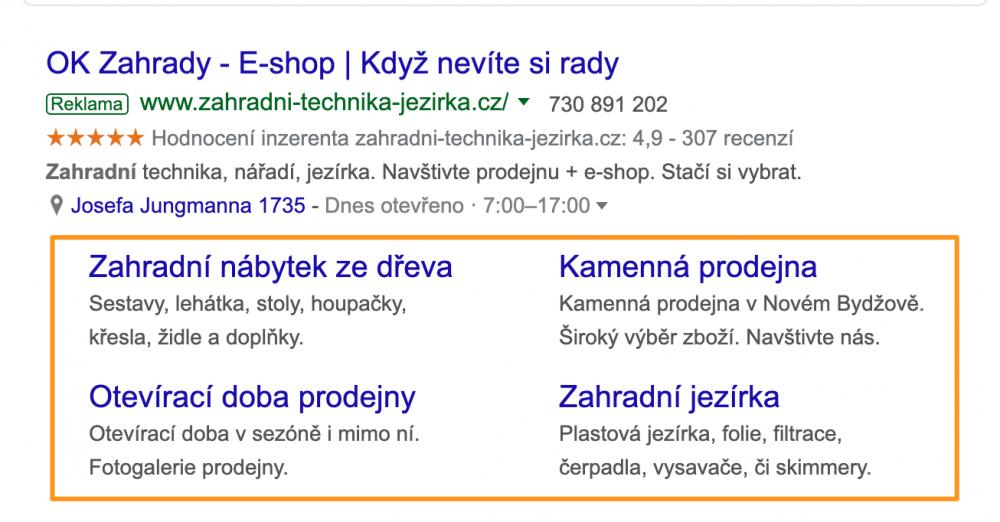 Google Ads - rozšíření o odkazy