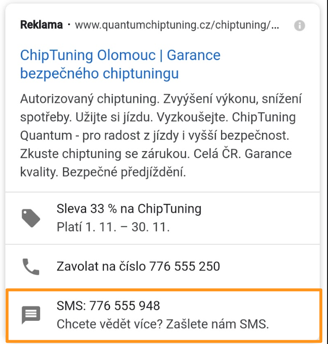 Google Ads - Rozšíření o sms