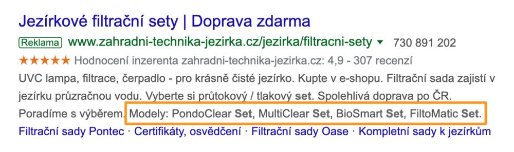 Google Ads - Rozšíření o strukturované úryvky