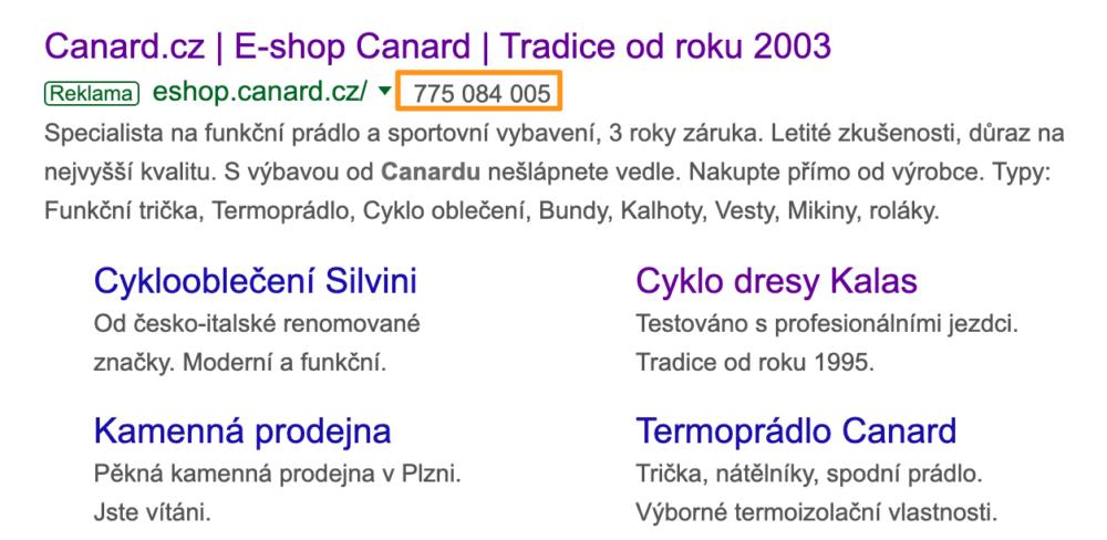 Rozšíření o volání Google Ads