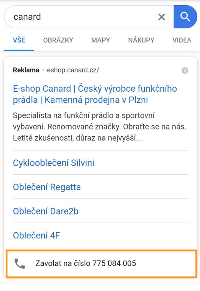Google Ads - Rozšíření o volání na mobilu