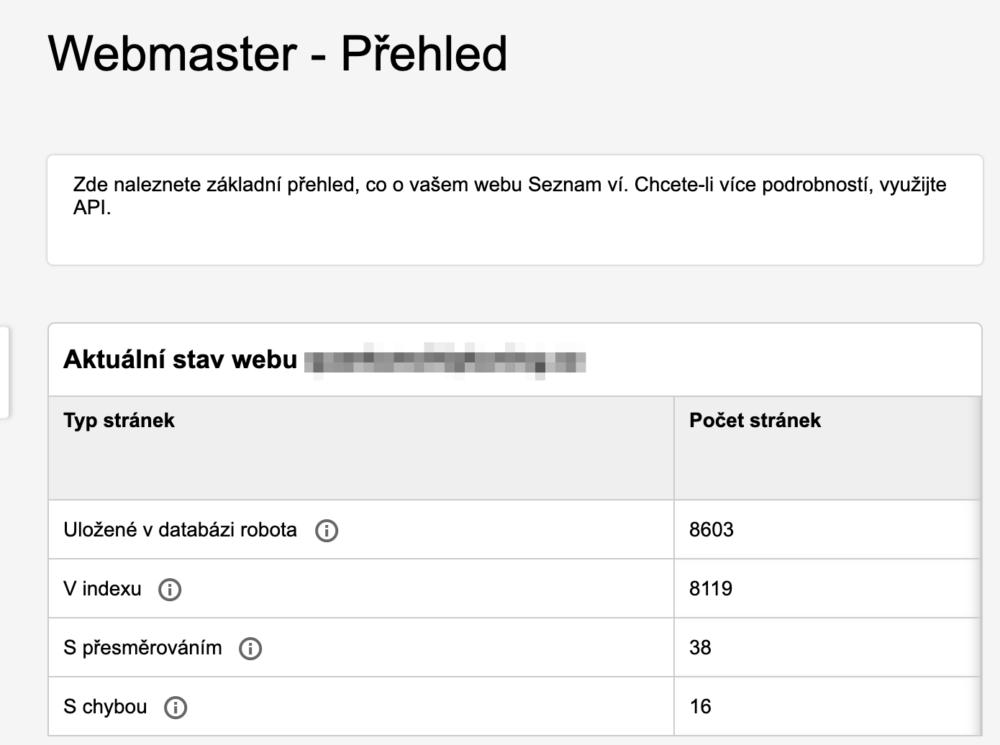 Seznam Webmaster - Přehled dat
