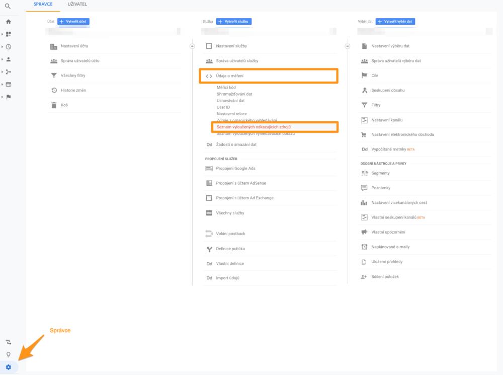 Nastavení vyloučených zdrojů v Google Analytics
